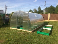 Оцинкованная теплица «VIP усиленная» арочного типа с дугами-фермами, с поликарбонатом 4 мм Sellex